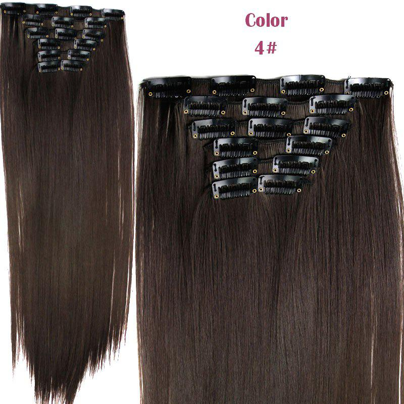Long Straight Clip-In Heat Resistant Synthetic Hair Extension Suit For WomenHAIR<br><br>Color: 04#; Hair Extension Type: Clip-In/On; Style: Straight; Fabric: Heat Resistant Synthetic Hair; Length: Long; Weight: 0.190kg; Package Contents: 1 x Hair Extension Suit; Length Size(CM): 59-60;