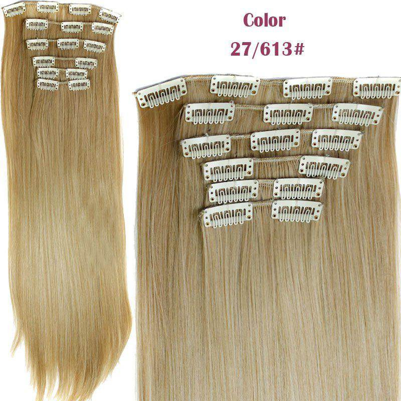 Long Straight Clip-In Heat Resistant Synthetic Hair Extension Suit For WomenHAIR<br><br>Color: 27/613#; Hair Extension Type: Clip-In/On; Style: Straight; Fabric: Heat Resistant Synthetic Hair; Length: Long; Weight: 0.190kg; Package Contents: 1 x Hair Extension Suit; Length Size(CM): 59-60;