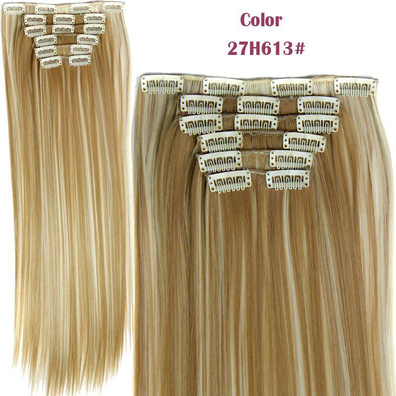 Long Straight Clip-In Heat Resistant Synthetic Hair Extension Suit For WomenHAIR<br><br>Color: 27H613; Hair Extension Type: Clip-In/On; Style: Straight; Fabric: Heat Resistant Synthetic Hair; Length: Long; Weight: 0.190kg; Package Contents: 1 x Hair Extension Suit; Length Size(CM): 59-60;