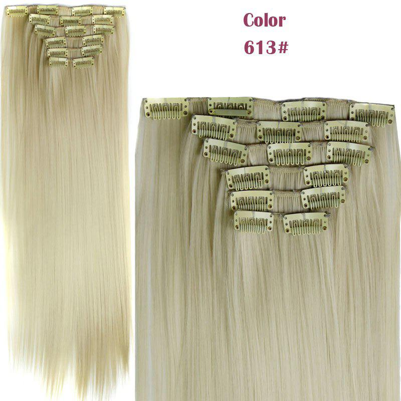 Long Straight Clip-In Heat Resistant Synthetic Hair Extension Suit For WomenHAIR<br><br>Color: BLONDE #613; Hair Extension Type: Clip-In/On; Style: Straight; Fabric: Heat Resistant Synthetic Hair; Length: Long; Weight: 0.190kg; Package Contents: 1 x Hair Extension Suit; Length Size(CM): 59-60;