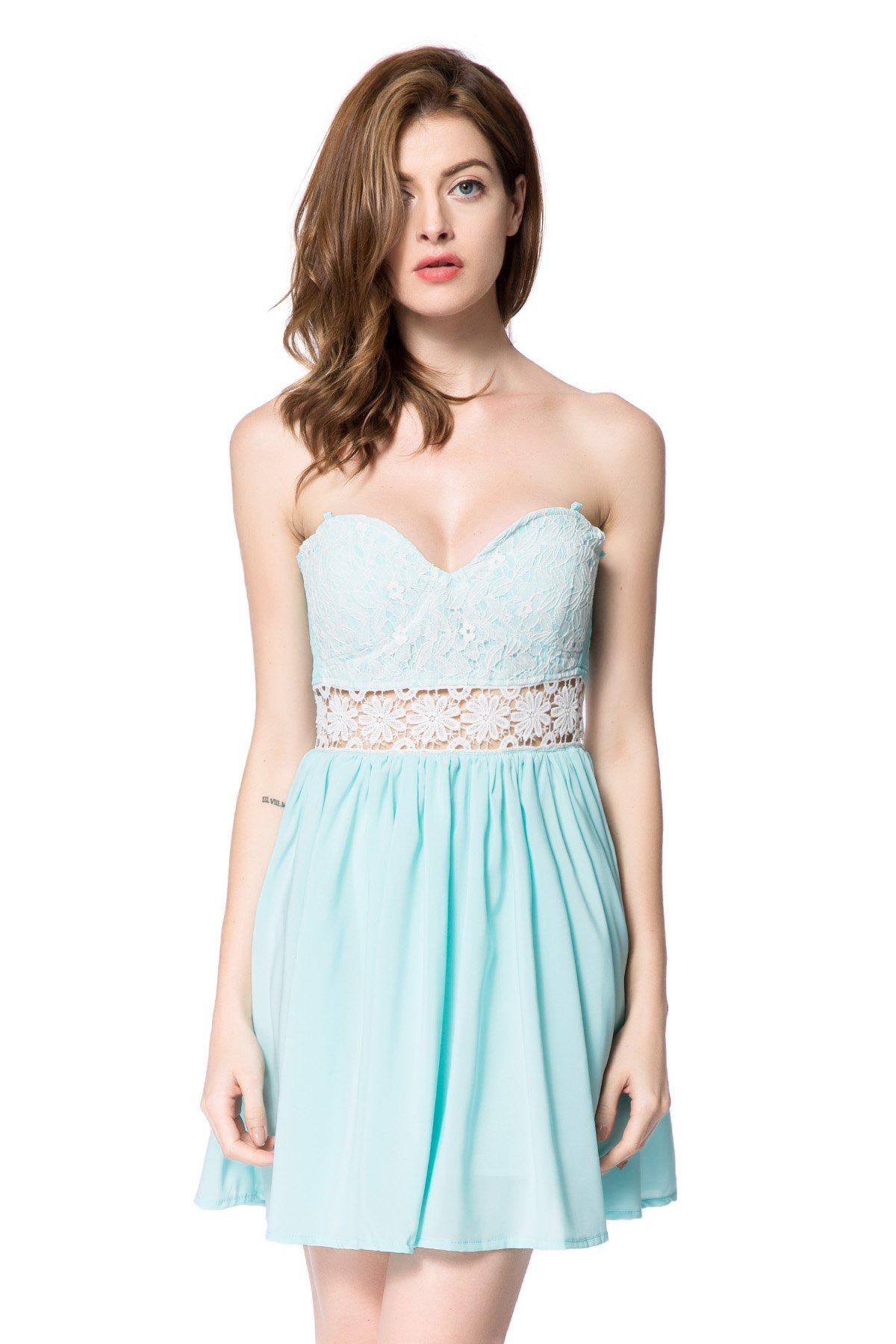 Buy Strapless Lace Panel Maid of Honor Dress