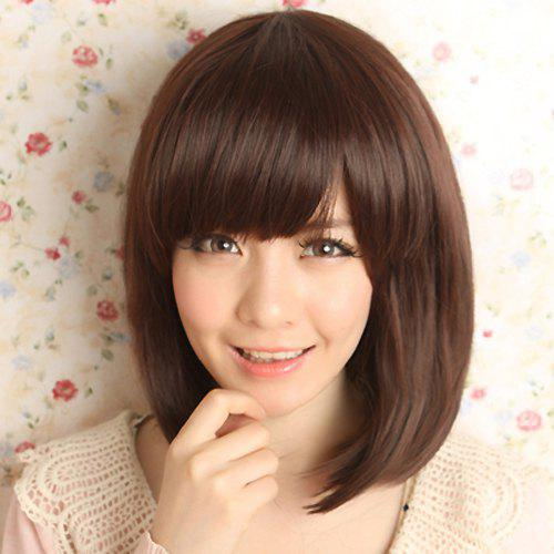 Stylish Silky Side Bang Sweet Style Medium Straight Synthetic Capless Wig For WomenHAIR<br><br>Color: DEEP BROWN; Type: Full Wigs; Cap Construction: Capless; Style: Straight; Material: Synthetic Hair; Bang Type: Side; Length: Medium; Length Size(Inch): 14; Weight: 0.18KG; Package Contents: 1 x Wig;