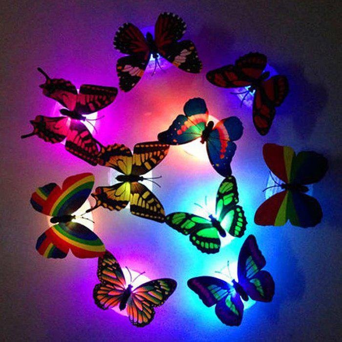 1pcs Colorful Luminous Butterfly Nightlight Stickers Small Night Lamp Indoor Wall LightingHOME<br><br>For: Bar,Cafe,Clothing Store,Home,Hotel,Lover,Restaurant; Features: Creative,Gift; Power Supply: Battery; Product weight: 0.010 kg; Package weight: 0.040 kg; Product size (L x W x H): 7.00 x 2.20 x 3.00 cm / 2.76 x 0.87 x 1.18 inches; Package size (L x W x H): 10.00 x 4.00 x 4.00 cm / 3.94 x 1.57 x 1.57 inches; Package Contents: 1 x LED Butterfly Light (with 2 x Button Battery);