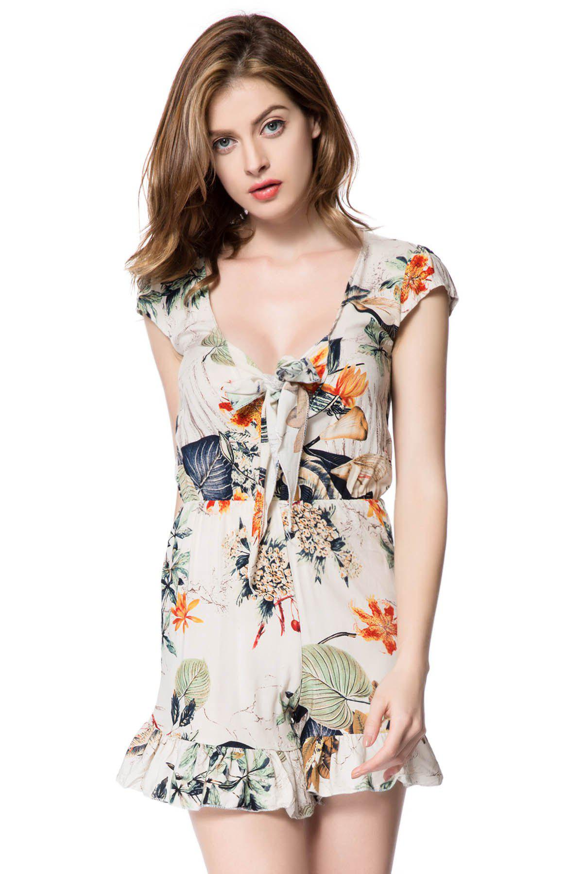 Chic Plunging Neckline Flounced Floral Romper