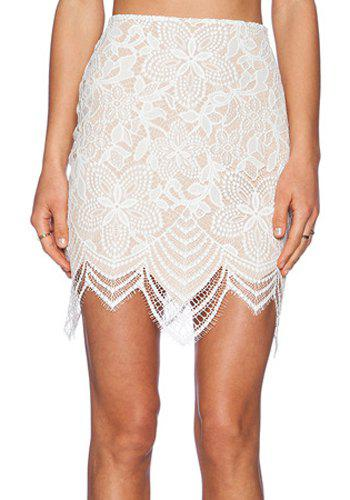 Cheap Trendy Style Lace Jacquard Skinny Skirt For Women