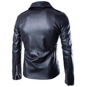 Trendy Lapel Slimming Solid Color Multi-Zipper Long Sleeve PU Leather Jacket For Men(with Belt) -