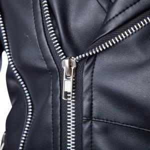 Trendy Lapel Slimming Solid Color Multi-Zipper Long Sleeve PU Leather Jacket For Men(with Belt) - BLACK 2XL