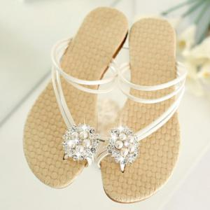 Stylish Faux Pearl and Rhinestones Design Women's Slippers -