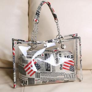 Stylish Transparent and Splice Design Women's Tote Bag -