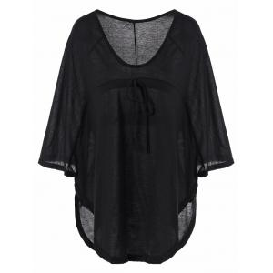 Plunging Neckline Plain Loose-Fitting Half Sleeve T-Shirt