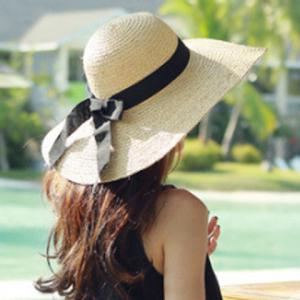 Chic Black Lace-Up Embellished Wide Brim Straw Hat For Women -