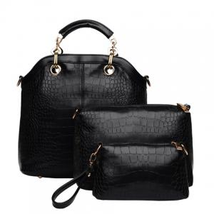 Fashion Style Crocodile Print and Metallic Design Women's Tote Bag - Black