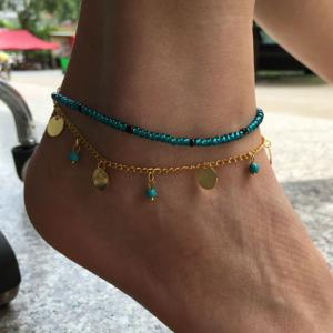 Fake Turquoise Beads Disc Charm Anklet -