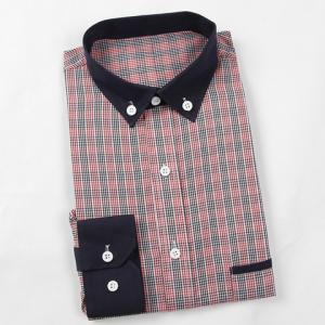 Fashion Shirt Collar Color Block Plaid Splicing Slimming Long Sleeve Polyester Shirt For Men -