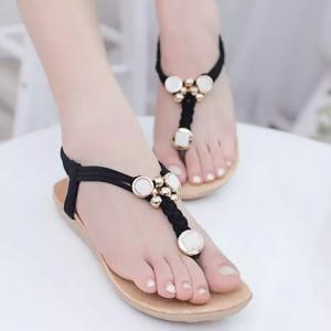 Simple Style Weaving and Metal Design Women's Sandals -
