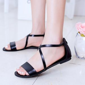 Simple Style Criss-Cross and Solid Color Design Women's Sandals -