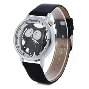 Shiweibao A7741 Cat Design Transparent Dial Quartz Watch Leather Strap for Women - Black - 31