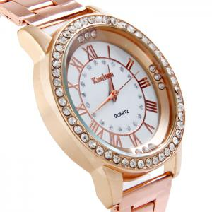 Kanima Female Quartz Watch Stainless Steel Band Diamond Wristwatch -