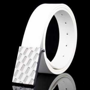Fashionable Rhombic Buckle and Faux Leather Belt For Men - White - 130cm