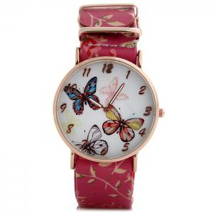 Butterfly Dial Floral Pattern Leather Band Women Casual Quartz Watch -
