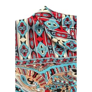 Stylish V Neck Long Sleeve Vintage Print Women's Dress - BLUE AND RED S
