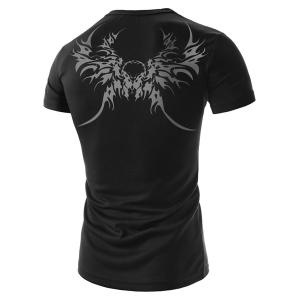 Stylish Round Neck Abstract Ethnic Print Slimming Short Sleeve Polyester T-Shirt For Men -