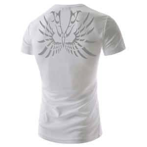 Fashion Round Neck Abstract Tattoo Print Slimming Short Sleeve Polyester T-Shirt For Men -