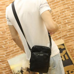 Fashion Style Solid Color and PU Leather Design Men's Messenger Bag - BLACK