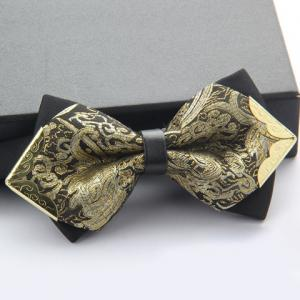 Stylish Alloy Embellished Various Pattern Double-Deck Bow Tie For Men - Random Color Pattern - M