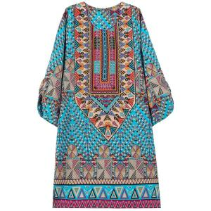 Ethnic Style Jewel Neck Floral Geometric Print 3/4 Sleeve Dress For Women -