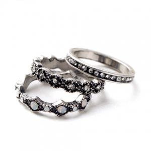 3PCS Chic Rhinestone Round Rings For Women - SILVER ONE-SIZE