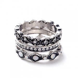 3PCS Chic Rhinestone Round Rings For Women - Silver - One-size