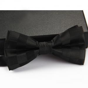 Stylish Checked and Stripe Pattern Bow Tie For Men - Black - Xl