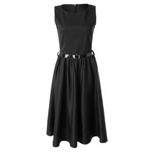 Vintage Sleeveless A Line Midi Dress - BLACK L