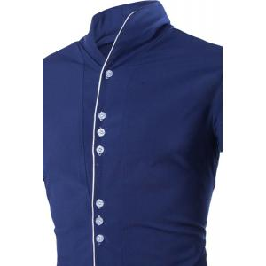 Fashion Stand Collar Color Block Placket Buttons Design Slimming Long Sleeve Cotton Blend Shirt For Men -