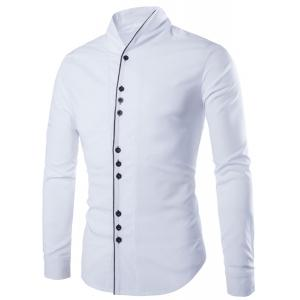 Fashion Stand Collar Color Block Placket Buttons Design Slimming Long Sleeve Cotton Blend Shirt For Men