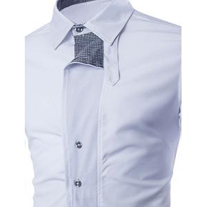 Fashion Shirt Collar Color Block Tiny Checked Splicing Slimming Long Sleeve Cotton Blend Shirt For Men - WHITE M