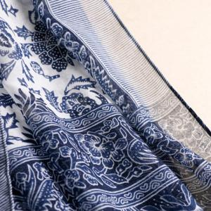 Chic Tassels Embellished Ethnic Printed Multifunctional Pashmina For Women - CADETBLUE