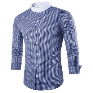 Vogue Stand Collar Tiny Checked Splicing Slimming Long Sleeve Cotton Blend Shirt For Men