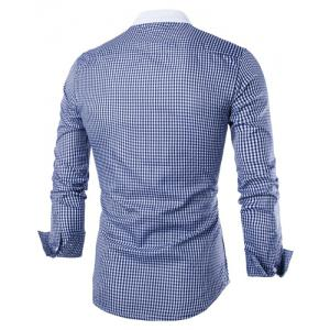 Vogue Stand Collar Tiny Checked Splicing Slimming Long Sleeve Cotton Blend Shirt For Men - BLUE L
