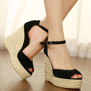 Suede Weaving Ankle Strap Wedge Sandals - BLACK 35