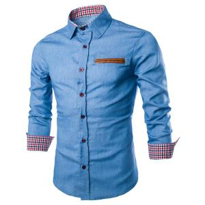 Stylish Shirt Collar Color Block PU Leather Pocket Hemming Slimming Long Sleeve Denim Shirt For Men