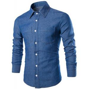 Fashion Shirt Collar Solid Color Double Pockets Slimming Long Sleeve Denim Shirt For Men - Deep Blue - M