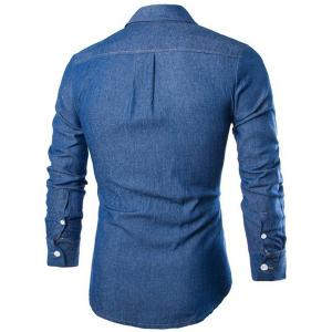 Fashion Shirt Collar Solid Color Double Pockets Slimming Long Sleeve Denim Shirt For Men - DEEP BLUE M