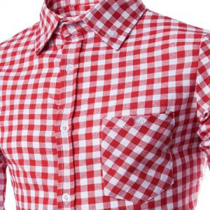 Trendy Shirt Collar Simple Color Block Checked Slimming Long Sleeve Cotton Blend Shirt For Men - RED 2XL