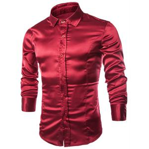 Stylish Shirt Collar Splicing Design Solid Color Slimming Long Sleeve Cotton Blend Shirt For Men - Wine Red - L