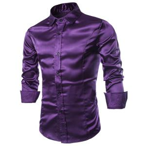 Stylish Shirt Collar Splicing Design Solid Color Slimming Long Sleeve Cotton Blend Shirt For Men - Purple - Xl