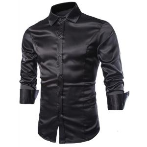 Stylish Shirt Collar Splicing Design Solid Color Slimming Long Sleeve Cotton Blend Shirt For Men - Black - Xl