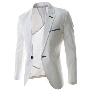 Trendy Lapel One Button Sutures Design Slimming Long Sleeve Polyester Blazer For Men - White - 2xl