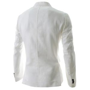 Trendy Lapel One Button Sutures Design Slimming Long Sleeve Polyester Blazer For Men - WHITE M